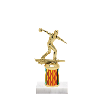 "7"" Bowling Trophy with Bowling Figurine, 2"" colored column and marble base."