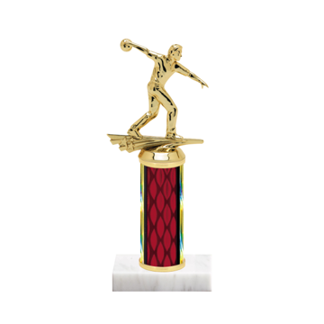 "9"" Bowling Trophy with Bowling Figurine, 4"" colored column and marble base."