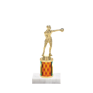 "7"" Boxing Trophy with Boxing Figurine, 2"" colored column and marble base."