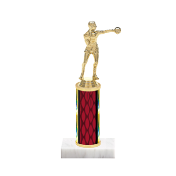 "9"" Boxing Trophy with Boxing Figurine, 4"" colored column and marble base."