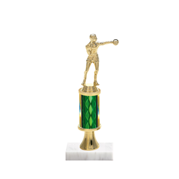 "11"" Boxing Trophy with Boxing Figurine, 3"" colored column, gold riser and marble base."