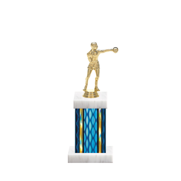 "11"" Boxing Trophy with Boxing Figurine, 4"" colored column and marble base."