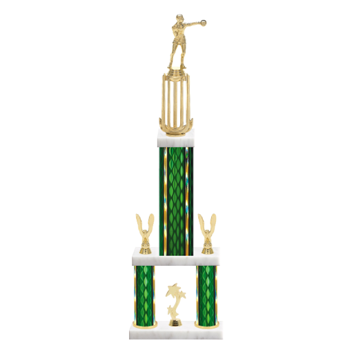 """26"""" Multi-Tier Boxing Trophy with Boxing Figurine, 9"""" colored top column, 5"""" colored bottom columns, cup riser, double side trim and center base trim."""
