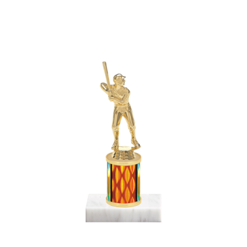 """7"""" Baseball Trophy with Baseball Figurine, 2"""" colored column and marble base."""