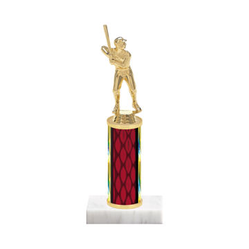 """9"""" Baseball Trophy with Baseball Figurine, 4"""" colored column and marble base."""