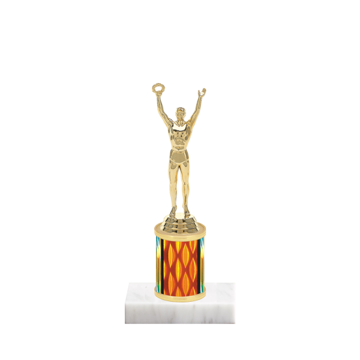 """7"""" Achievement Trophy with Achievement Figurine, 2"""" colored column and marble base."""