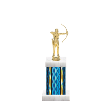 "11"" Archery Trophy with Archery Figurine, 4"" colored column and marble base."