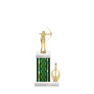 "13"" Archery Trophy with Archery Figurine, 5"" colored column, side trim and marble base."