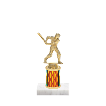 "7"" Cricket Trophy with Cricket Figurine, 2"" colored column and marble base."