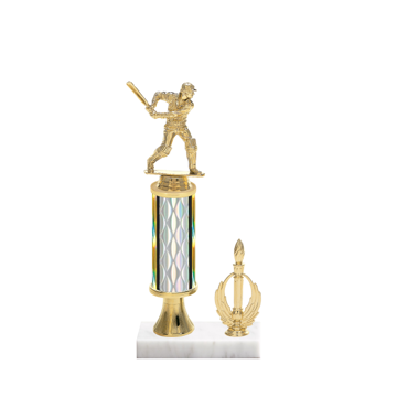 "12"" Cricket Trophy with Cricket Figurine, 4"" colored column, gold riser, side trim and marble base."