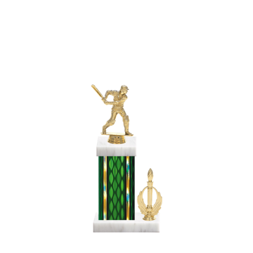 "13"" Cricket Trophy with Cricket Figurine, 5"" colored column, side trim and marble base."