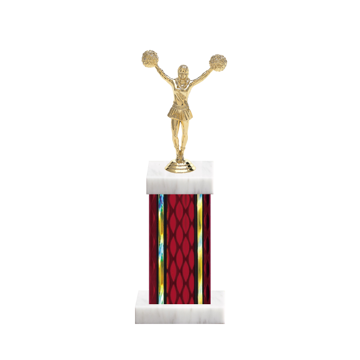 """12"""" Cheerleading Trophy with Cheerleading Figurine, 5"""" colored column and marble base."""
