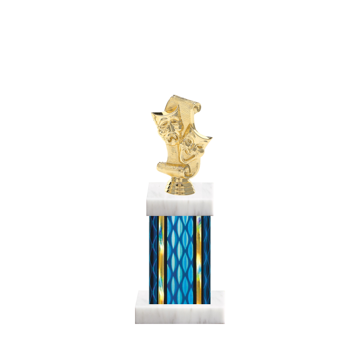 "11"" Drama Trophy with Drama Figurine, 4"" colored column and marble base."