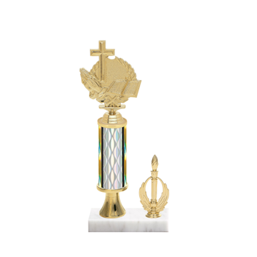 """12"""" Religion Trophy with Religion Figurine, 4"""" colored column, gold riser, side trim and marble base."""