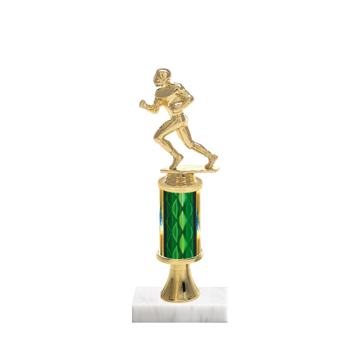 "11"" Football Trophy with Football Figurine, 3"" colored column, gold riser and marble base."