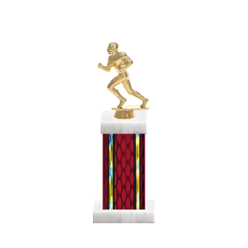 "12"" Football Trophy with Football Figurine, 5"" colored column and marble base."