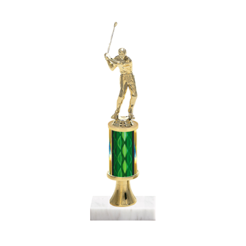 """11"""" Golf Trophy with Golf Figurine, 3"""" colored column, gold riser and marble base."""