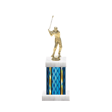 """11"""" Golf Trophy with Golf Figurine, 4"""" colored column and marble base."""