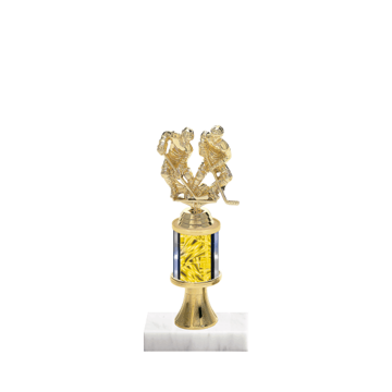 "10"" Hockey Trophy with Hockey Figurine, 2"" colored column, gold riser and marble base."