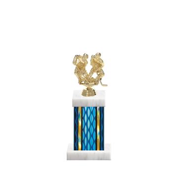 """11"""" Hockey Trophy with Hockey Figurine, 4"""" colored column and marble base."""