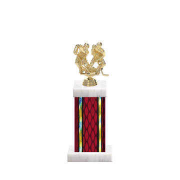 "12"" Hockey Trophy with Hockey Figurine, 5"" colored column and marble base."