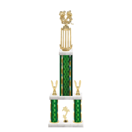 "26"" Multi-Tier Hockey Trophy with Hockey Figurine, 9"" colored top column, 5"" colored bottom columns, cup riser, double side trim and center base trim."
