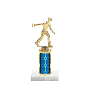 "8"" Horseshoe Trophy with Horseshoe Figurine, 3"" colored column and marble base."