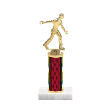 "9"" Horseshoe Trophy with Horseshoe Figurine, 4"" colored column and marble base."