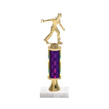 "12"" Horseshoe Trophy with Horseshoe Figurine, 4"" colored column, gold riser and marble base."