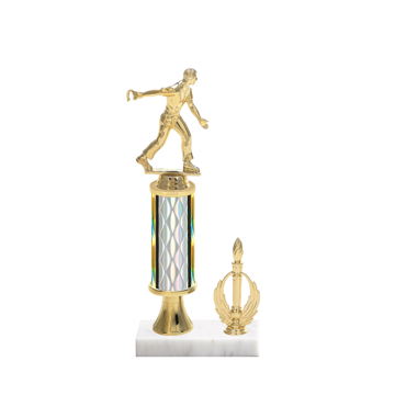 "12"" Horseshoe Trophy with Horseshoe Figurine, 4"" colored column, gold riser, side trim and marble base."