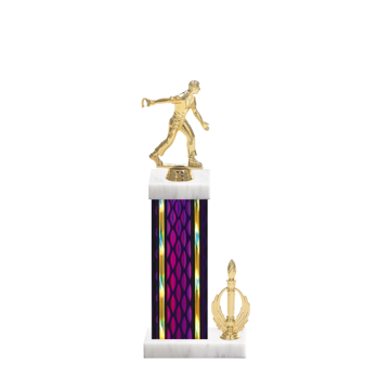 "14"" Horseshoe Trophy with Horseshoe Figurine, 6"" colored column, side trim and marble base."