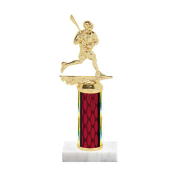 """9"""" Lacrosse Trophy with Lacrosse Figurine, 4"""" colored column and marble base."""