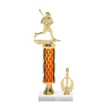 """13"""" Lacrosse Trophy with Lacrosse Figurine, 5"""" colored column, gold riser, side trim and marble base."""
