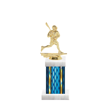"""11"""" Lacrosse Trophy with Lacrosse Figurine, 4"""" colored column and marble base."""