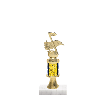 """10"""" Music Trophy with Music Figurine, 2"""" colored column, gold riser and marble base."""