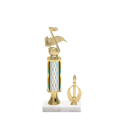 """12"""" Music Trophy with Music Figurine, 4"""" colored column, gold riser, side trim and marble base."""
