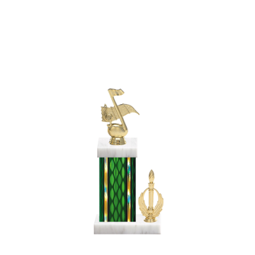 """13"""" Music Trophy with Music Figurine, 5"""" colored column, side trim and marble base."""