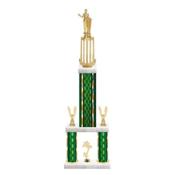 "26"" Multi-Tier Public Speaking Trophy with Public Speaking Figurine, 9"" colored top column, 5"" colored bottom columns, cup riser, double side trim and center base trim."