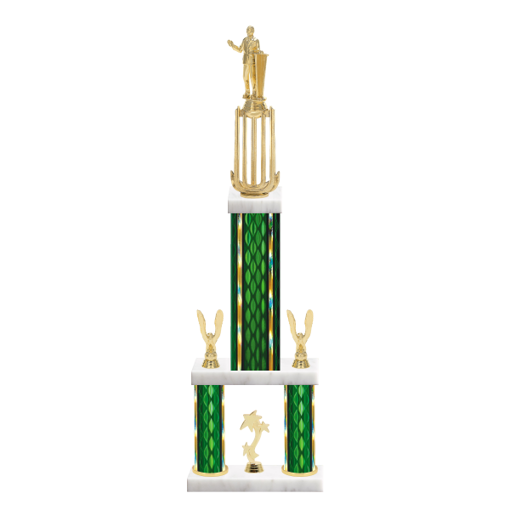 """26"""" Multi-Tier Public Speaking Trophy with Public Speaking Figurine, 9"""" colored top column, 5"""" colored bottom columns, cup riser, double side trim and center base trim."""