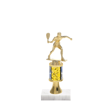 "10"" Racquetball Trophy with Racquetball Figurine, 2"" colored column, gold riser and marble base."