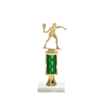 "11"" Racquetball Trophy with Racquetball Figurine, 3"" colored column, gold riser and marble base."