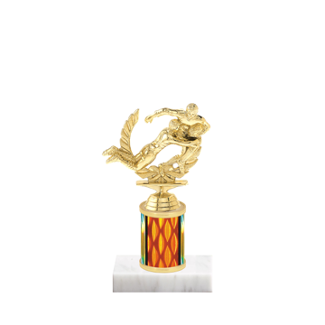 """7"""" Rugby Trophy with Rugby Figurine, 2"""" colored column and marble base."""
