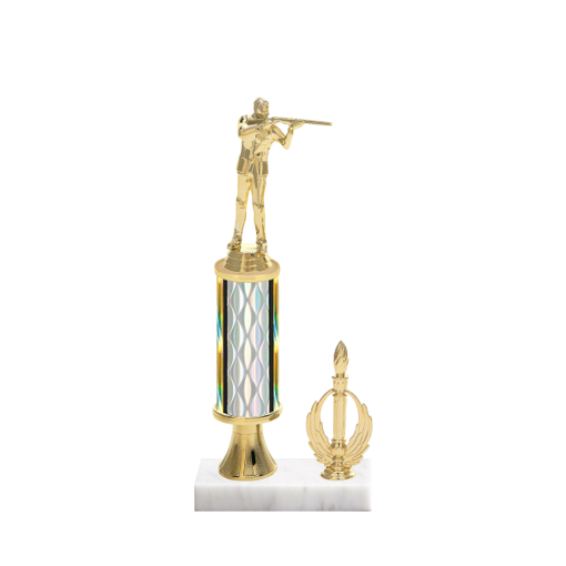 """12"""" Shooting   Gun Trophy with Shooting   Gun Figurine, 4"""" colored column, gold riser, side trim and marble base."""