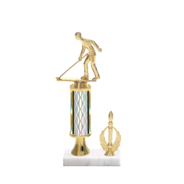 "12"" Shuffleboard Trophy with Shuffleboard Figurine, 4"" colored column, gold riser, side trim and marble base."