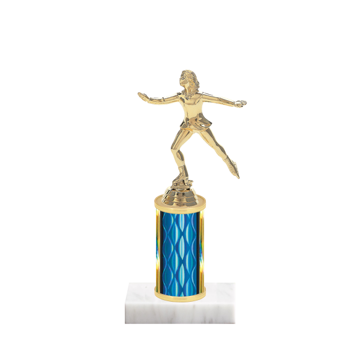 """8"""" Ice Skating   Roller Skating Trophy with Ice Skating   Roller Skating Figurine, 3"""" colored column and marble base."""