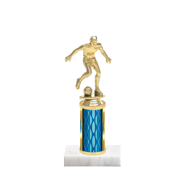 "8"" Soccer Trophy with Soccer Figurine, 3"" colored column and marble base."