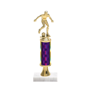 "12"" Soccer Trophy with Soccer Figurine, 4"" colored column, gold riser and marble base."