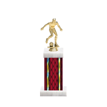 "12"" Soccer Trophy with Soccer Figurine, 5"" colored column and marble base."