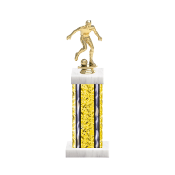"13"" Soccer Trophy with Soccer Figurine, 6"" colored column and marble base."