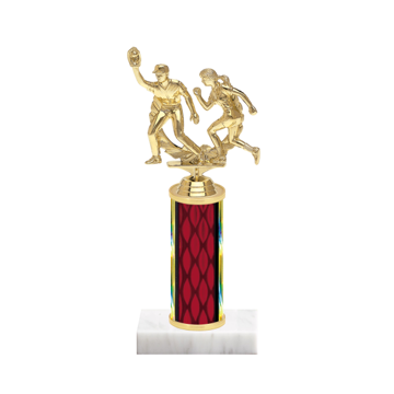 "9"" Softball Trophy with Softball Figurine, 4"" colored column and marble base."